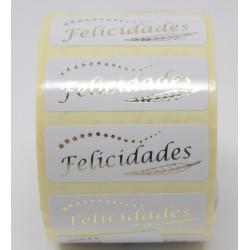 """36 x 13 etiqueta regalo """"Felicidades"""" blanca y oro"""