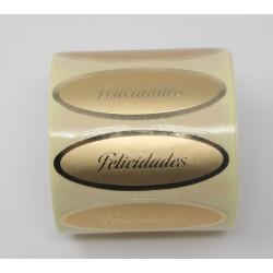 """55 x 20 etiqueta regalo """"Felicidades"""" oro ovalada"""