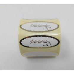 """55 x 20 etiqueta regalo """"Felicidades"""" blanco y oro ovalada"""