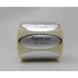 "55 x 20 etiqueta regalo ""espero que te guste"" plata ovalada"